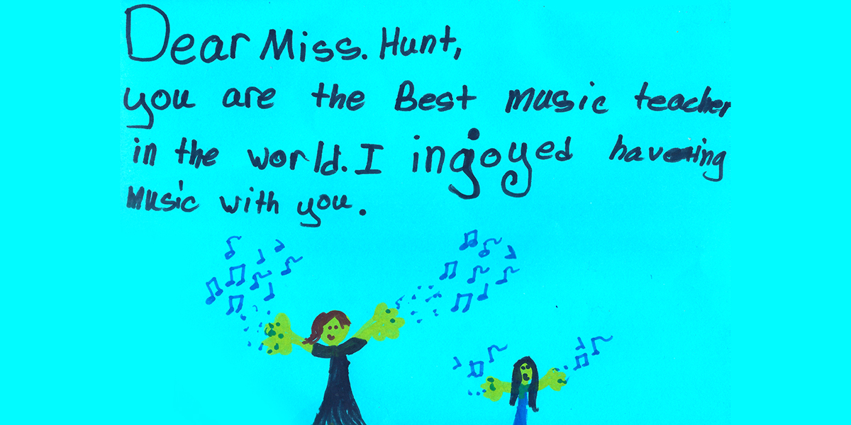 Student thank-you for Miss Hunt
