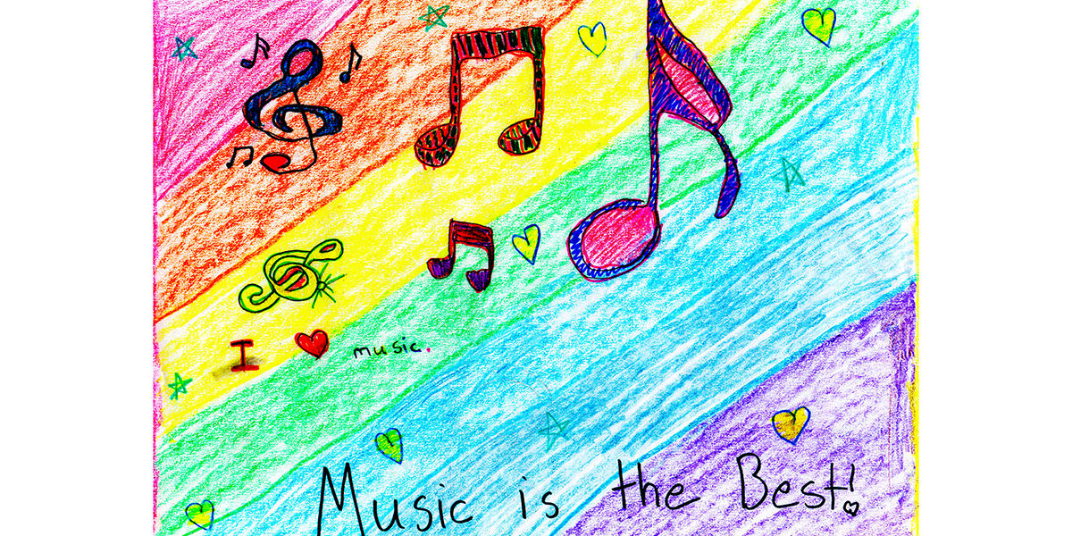 """Student artwork """"music is the best"""""""